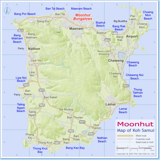 Map of Koh Samui with position of Moonhut Bungalows