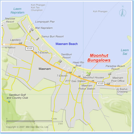 Map of Maenam Beach area