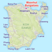 Location of Moonhut Bungalows at Maenam Beach on the North Coast of Koh Samui